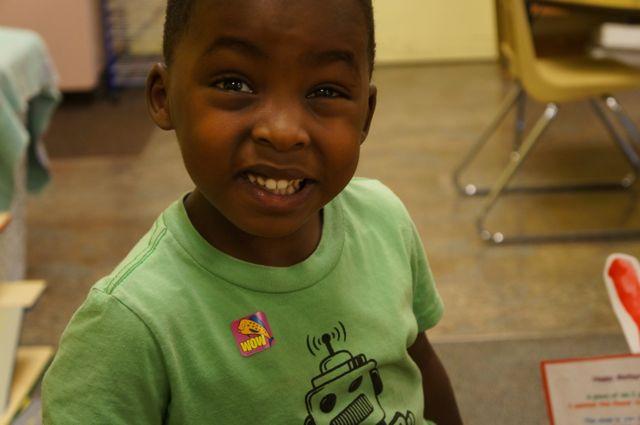Ezra smiling for mommy